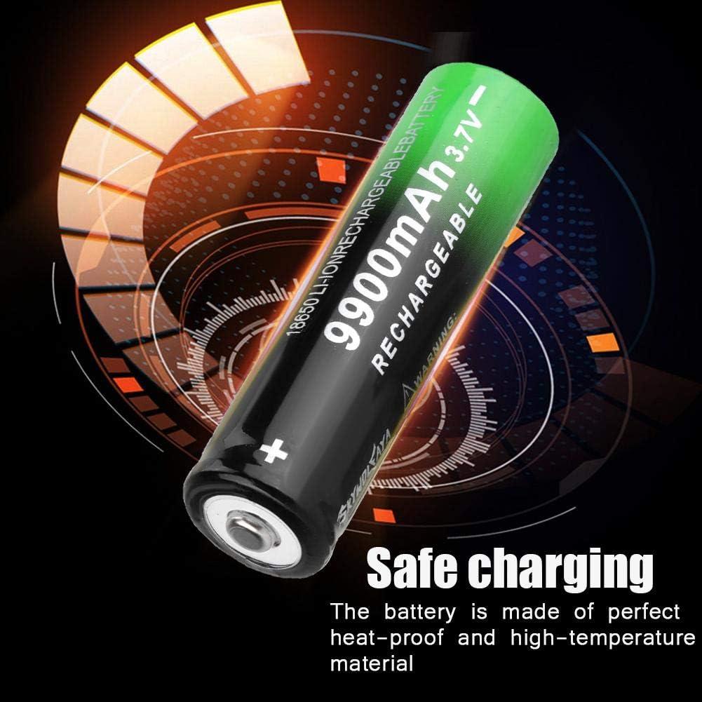 2 PCS 18650 Rechargeable Battery 9900mAh Li-ion 3.7V Household Batteries for Flashlight Headlamp