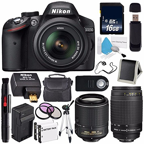 Nikon D3200 Digital Camera w/ 18-55 VR II Lens (International Model) + Nikon 70-300mm f/4-5.6G Nikkor Zoom Lens + AF-S DX NIKKOR 55-200mm f/4-5.6G ED VR II Lens