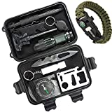 HOTIN CITY 10 in 1 Professional Survival Kit Outdoor Travel Hike Field Camp Emergency Kits