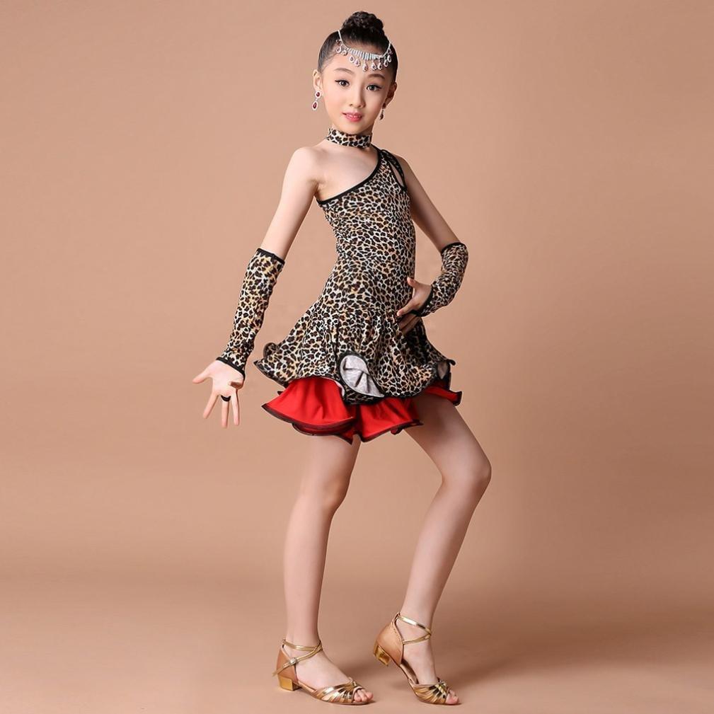 body da danza leopardato senza maniche per balli latini HLHN Vestito per ragazze e bambine