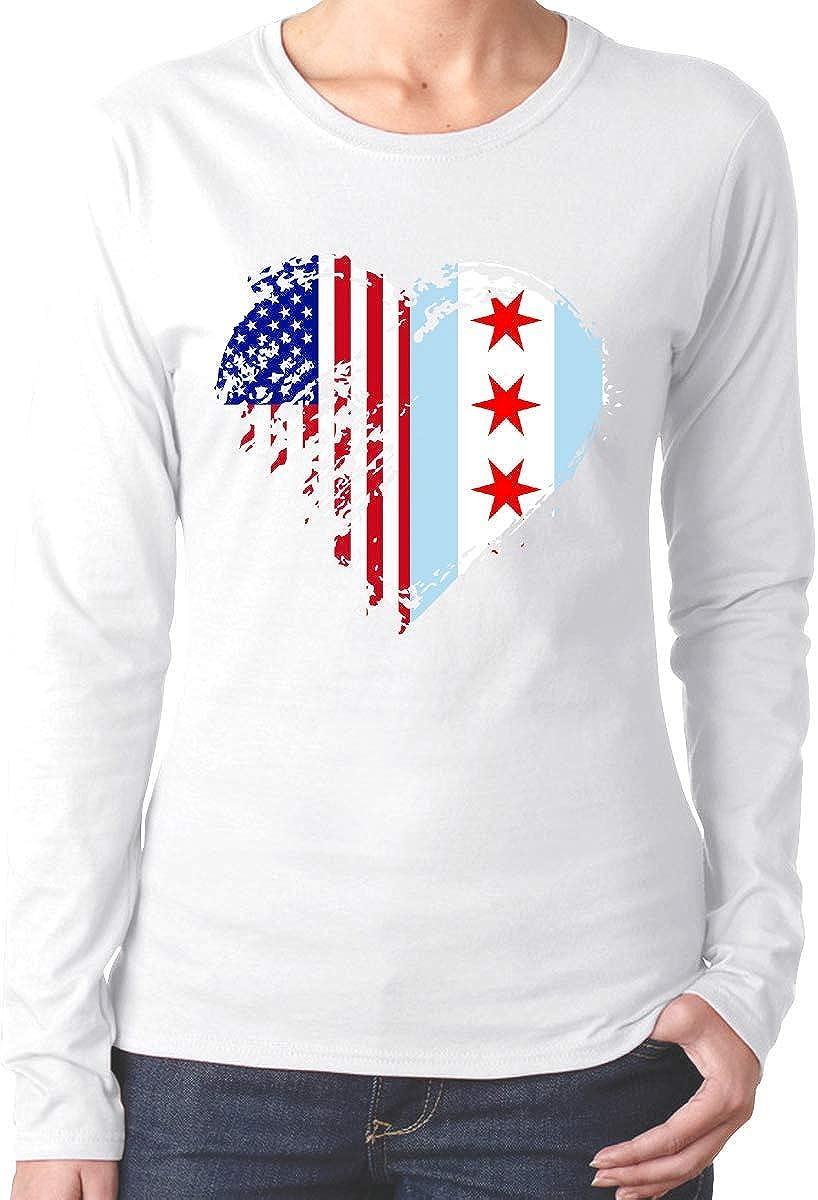 DLing Maglietta a Maniche Lunghe in Cotone con Bandiera Americana Chicago Cuore sgangherata ComfortSoft da Donna