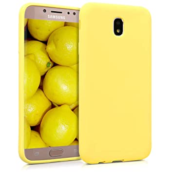 kwmobile Funda para Samsung Galaxy J7 (2017) DUOS - Carcasa para móvil en TPU Silicona - Protector Trasero en Amarillo Pastel Mate