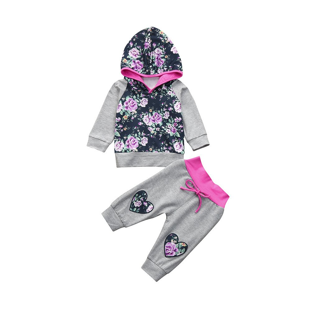 Winter Baby Outfits,Fineser 2pcs Adorable Infant Toddler Baby Girls Floral Heart Print Hoodie Tops+Pants Outfits Clothes Set