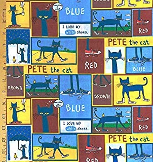 "24/"" X 44/"" Panel Pete the Cat Bedtime Squares Blocks Kids Cotton Fabric D561.42"