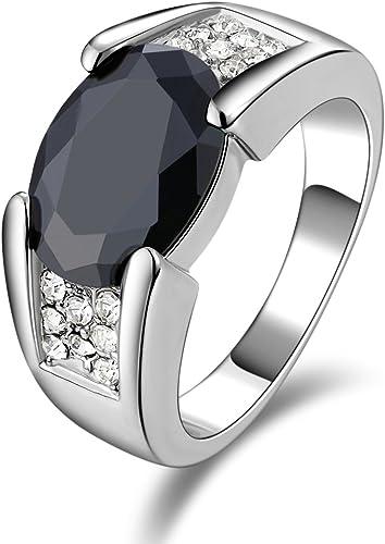 Size 8 Black Sapphire 18K White Gold Filled Fashion Man/'s Wedding Rings Gift
