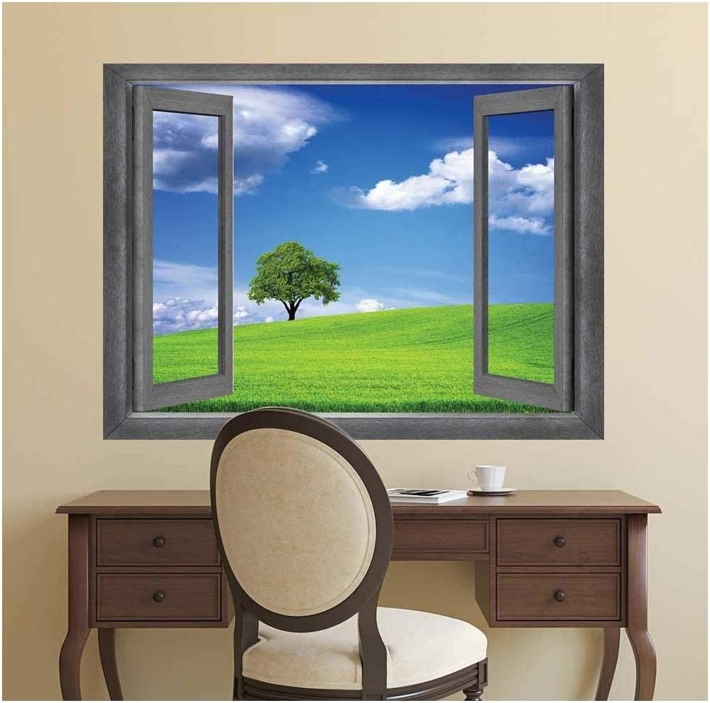 Open Window Creative Wall Decor - A Lone Tree Displayed with a Clear Blue Sky - Wall Mural, Removable Sticker, Home Decor - 36x48 inches