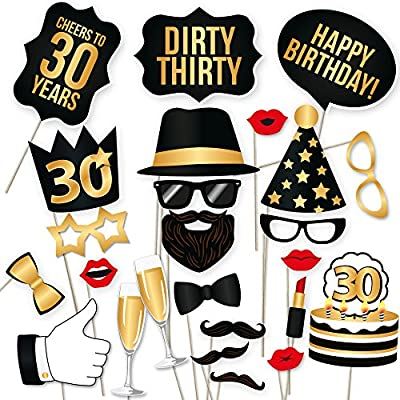 PartyGraphix DIY 30th Birthday Party Photo Booth Props Kit - Suitable for His or Hers 30th Birthday Celebration Photo Booth. 34 Piece Kit Includes Black and Gold Props on a Stick from PartyGraphix