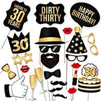 30th Birthday Props by PartyGraphix. Usable As Birthday Party Decorations. 34 High Quality Black and Gold Pieces