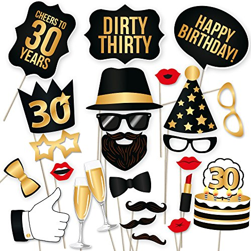 30th Birthday Props by PartyGraphix. Usable As Birthday Party Decorations. 34 High Quality Black and Gold (30 Birthday Party Decorations)
