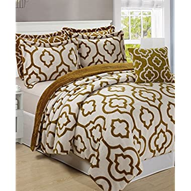 BNF Home Jacquard Sherpa 6 Piece Bedspread Set Queen Gold