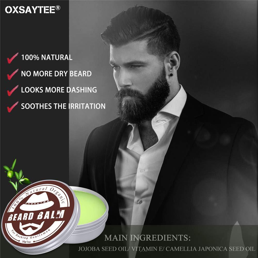 Kit Barba Cuidado para Hombre, 8 PCS Kit para Barba- Aceite Barba 30ml, Bálsamo Barba 30g, Cepillo Barba, Plantilla Para Barba, Babero, Tijeras Barba y ...