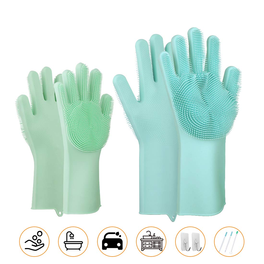 Magic SakSak Scrubbing Gloves - 2Size(Adult+Kid) Scrub Gloves - Reusable Silicone Cleaning Gloves Dishwashing Scrubber with Bristles For Washing Kitchen, Bathroom, Car and More