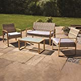 Kingfisher 4pc Garden Patio Cream/Grey Rattan Sofa Set Outdoor Furniture Conservatory Wicker