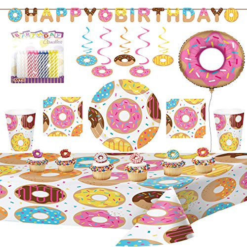 Donut Time Ultimate Party Supplies Pack with Decorations Serves 16: Dinner Plates, Luncheon Napkins, Cups, Table Cover, Metallic Balloon, Swirl Decorations, Birthday Banner, Donut Cupcake Rings, and Birthday Candles (ULTIMATE PARTY BUNDLE for 16)