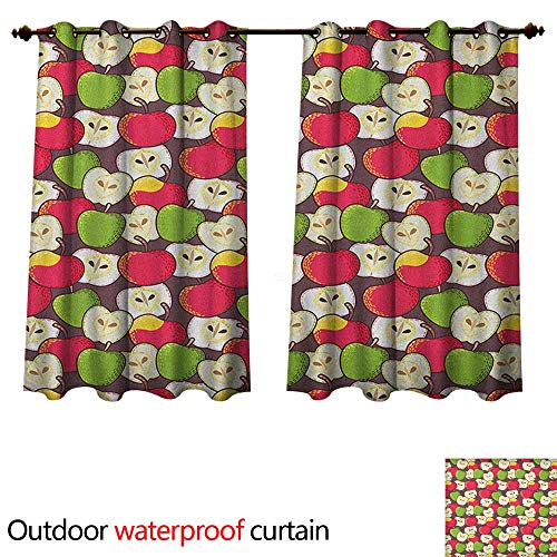 Apple Outdoor Ultraviolet Protective Curtains Abstract Red and Green Varieties of Winter Fruits Juicy Vitamin Sources Fresh Food W63 x L72(160cm x 183cm)