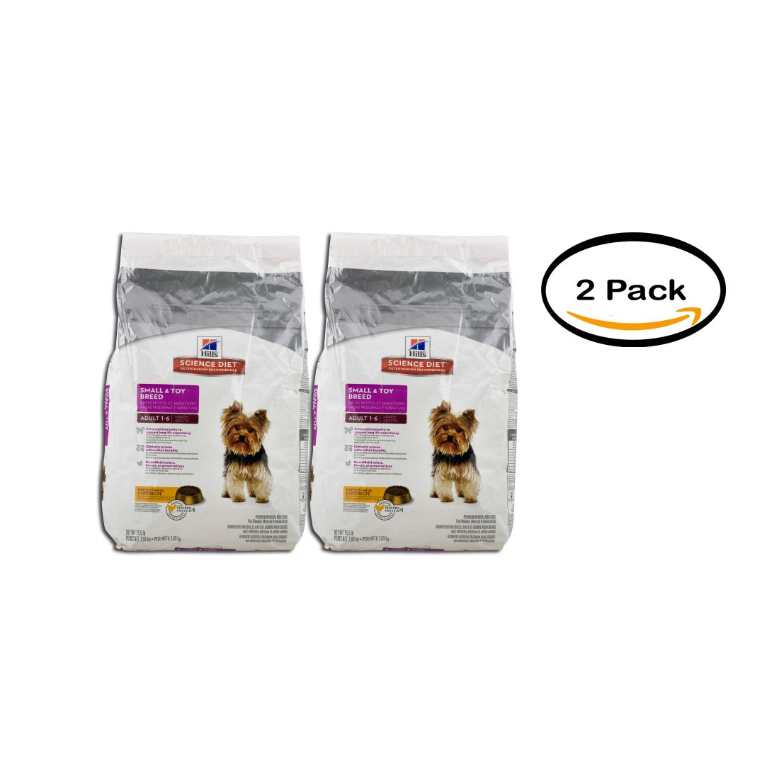 PACK OF 2 - Science Diet Premium Dog Food Small & Toy Breed Adult 1 - 6 Chicken Meal & Rice Recipe, 15.5 LB