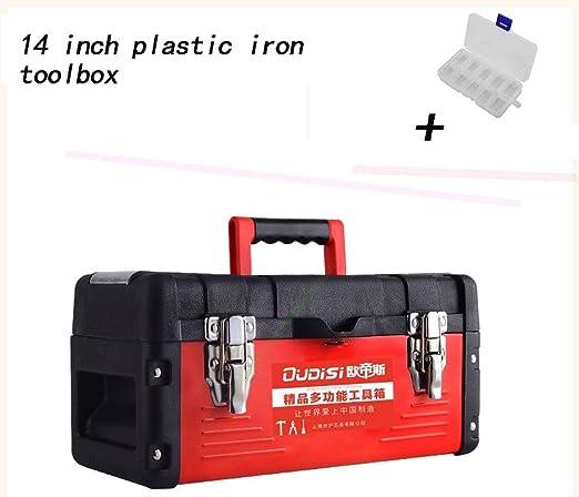 HaiShan CZGJX Caja de Herramientas Caja de Herramientas de Hierro de plástico de 14 Pulgadas Caja de Almacenamiento Caja de Hardware Reparación de combinación de plástico Caja vacía: Amazon.es: Hogar