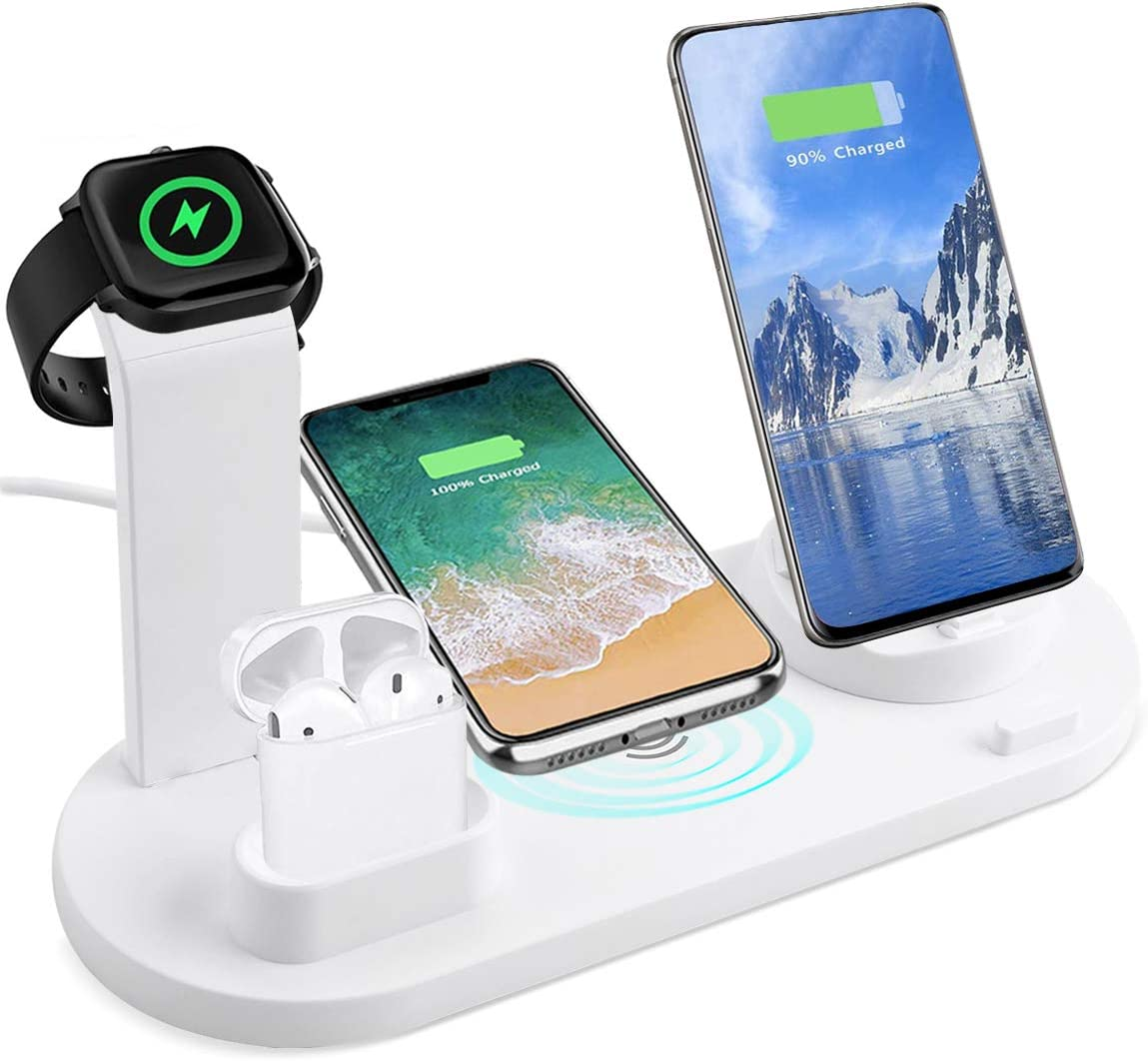 3 in 1 Charger Stand Copatible with iPhone/Android/Type-C with USB Port for Apple Watch,Qi Fast Wireless Charging Dock Station for AirPods/iPhone/Samsung/Huawei/LG/HTC(White)