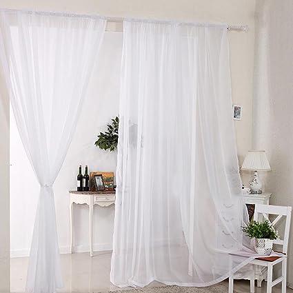Amazon 2pcs Sheer Voile Window Curtain Rod Pocket Panels White
