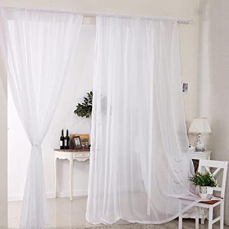 2pcs Sheer Voile Window Curtain Rod Pocket Panels White 5590inch For Living Room Dining