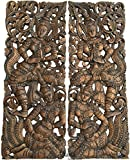 "Asian Inspired Home Decor. Thai Traditional Figure Carved Wood Wall Sculpture Panels. 35.5""x13.5""x1'' Each, Set of 2 Pcs Brown"