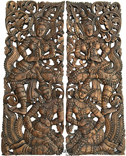 "Asian Inspired Home Decor. Thai Traditional Figure Carved Wood Wall Sculpture Panels. 35.5""x13.5""x1'' Each, Set of 2 Pcs Brown by Asiana Home Decor"