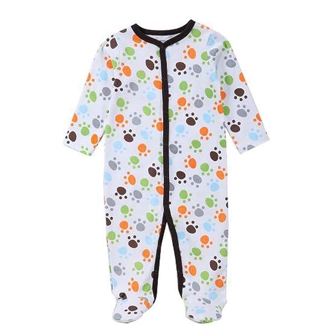 Hzjundasi Recién nacido Bebés Impresión Footed Pijama Infantil Manga Larga Algodón Romper Monos Invierno Otoño Jumpsuit Ropa de noche: Amazon.es: Ropa y ...