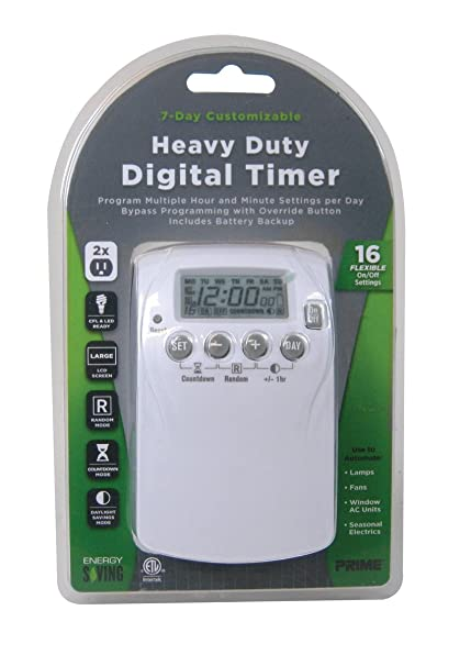 Prime Wire & Cable TNDHD002 2-Outlet Heavy Duty 7 day Digital Timer ...