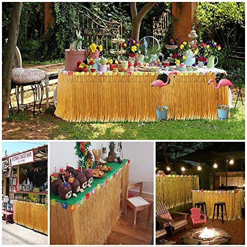 VSTON Hawaiian Luau Table Skirt,9ft Hibisus Grass Hawaii Summer Garden BBQ Tropical Beach Tropical Garden Luau Party Tiki Party Decoration(Yellow) by VSTON (Image #4)