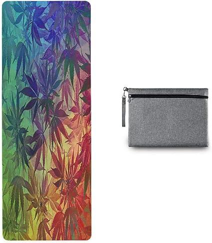 Amazon Com Mahu Yoga Mats Rainbow Cannabis Hemp Leaves Non Slip Exercise Mat Foldable Anti Tear Fitness Mat With Carrying Bag For Women Men Boys Girls 71 X 26 Inch Sports Outdoors