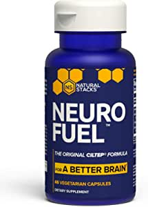 Natural Stacks NeuroFuel™ Brain Supplement 45 ct. - Daily Focus, Memory and Motivation Boost for Men & Women - U.S. Patented CILTEP Nootropic Formula