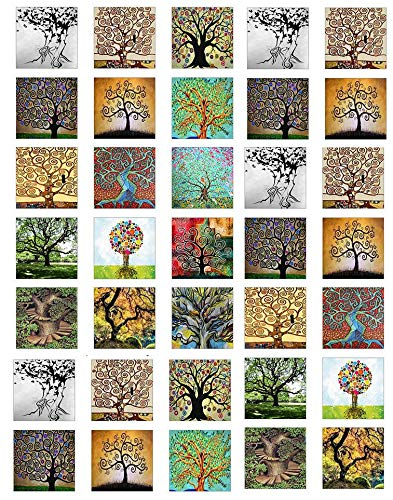 Tree of Life Squares - 85140 - Ceramic Decal - Enamel Decal - Glass Decal - Waterslide Decal - 3 Different Size Sheet (Images) to Choose from. Choose Either Ceramic -