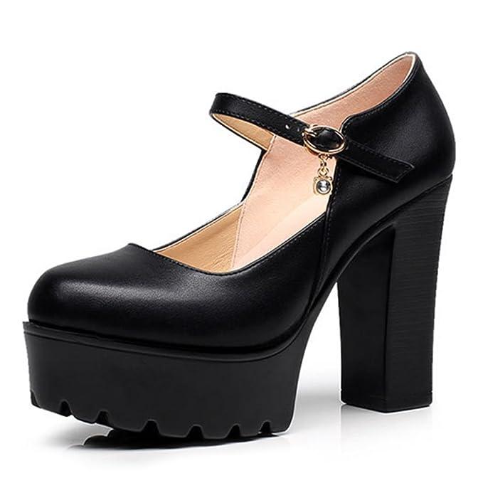 YR-R Zapatos Mary Jane Zapatos Con Plataforma Cerrada Tobillo Stra Tacones Gruesos Plataformas Bombas