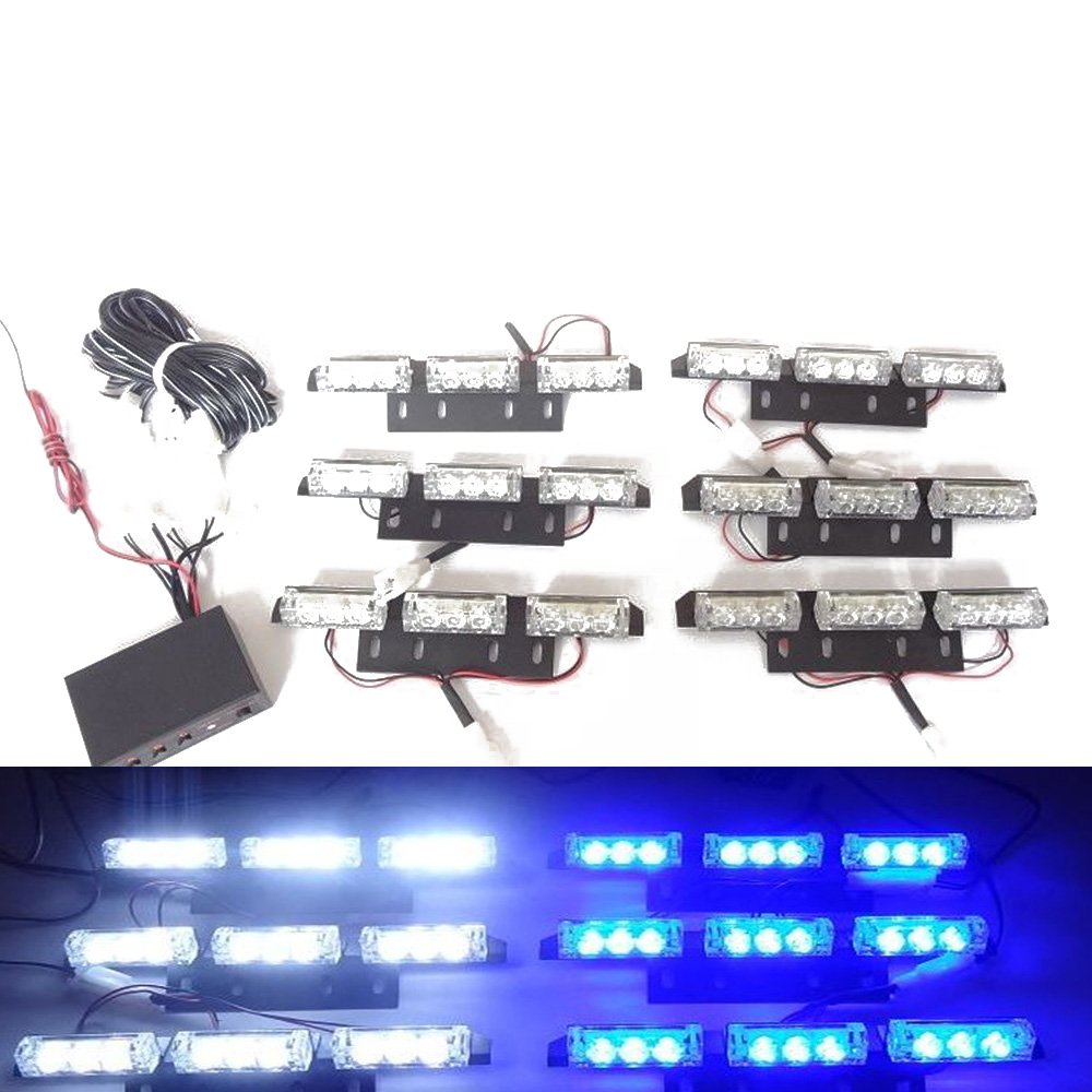 Viktion DC12V 5W 6*9 LEDs Feux de Pénétration Lumière Stroboscopique Eclairage clignotant à 3 modes Fixation à vis pour Voiture camion véhicule SUV Lampe Avertissement Urgence Secours Travaux (Bleu & blanc)