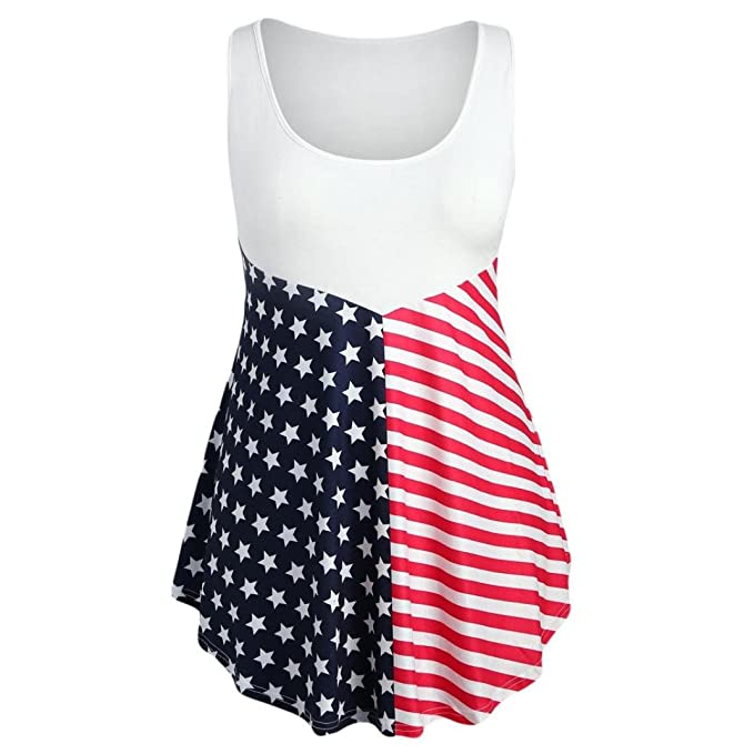 558398539a4 FINME Fashion Womens Sleeveless Vest Patriotic Asymmetric American Flag  Print Tank Top Plus Size Tee Shirt
