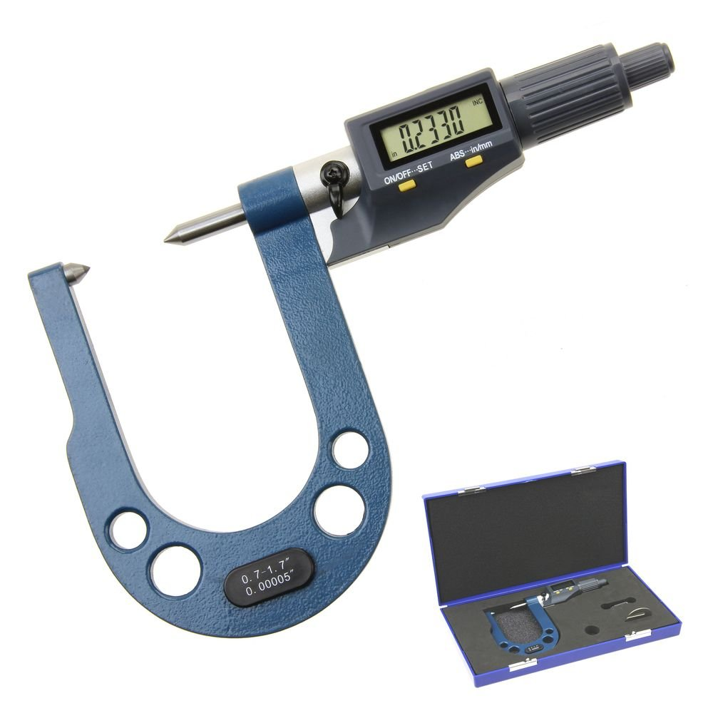 Anytime Tools Digital Point Micrometer Disc Brake Extended Reach 0.7''-1.7''/0.00005'' w/Twin Conical Anvils Metric/Inch