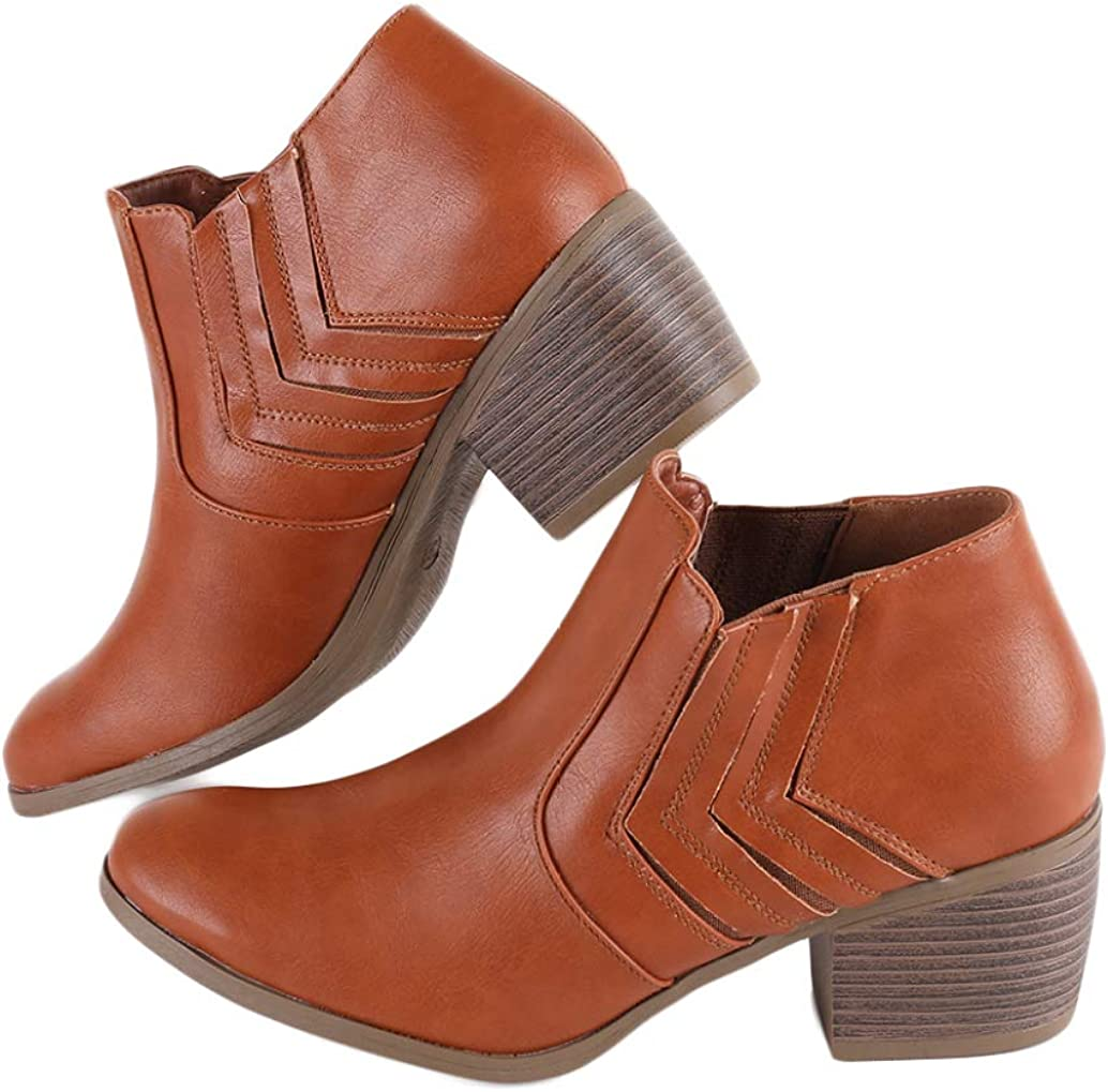 Huiyuzhi Sale item Womens Vintage Pointy Toe Booties Ankle Stacked List price Chunky