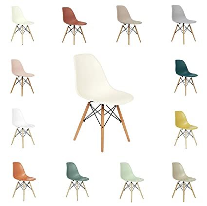 Admirable Fusionwell Dining Plastic Chair With Eiffel Retro Wooden Legs Contemporary Designer Office Kitchen Lounge Bedroom Chair Off White Unemploymentrelief Wooden Chair Designs For Living Room Unemploymentrelieforg