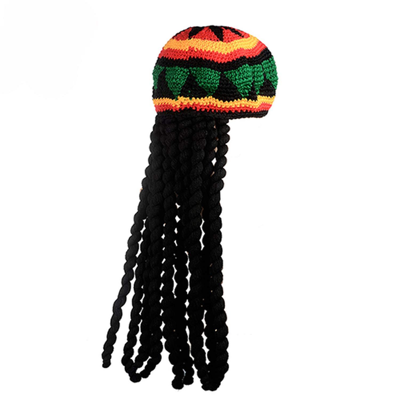 Men Knitted Wig Braid Hat Male Jamaican Multicolor Headwear Tassel Hair Accessories