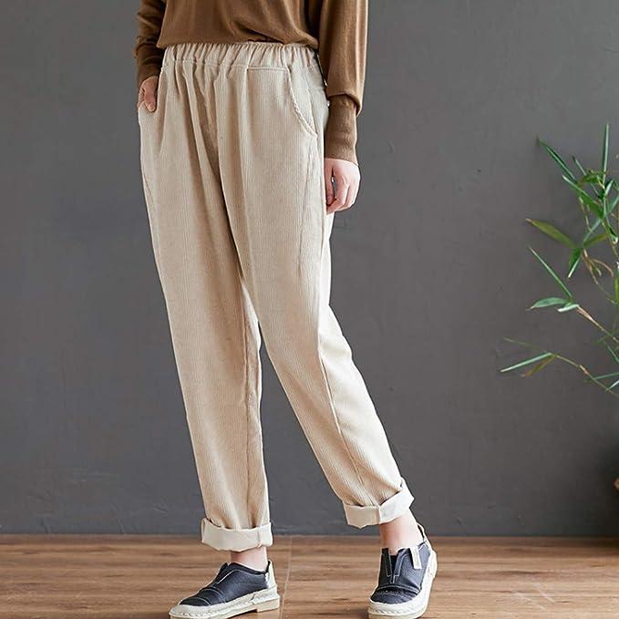 Gugavivid Pantalones de harén de Cintura elástica de Pana Vintage ...