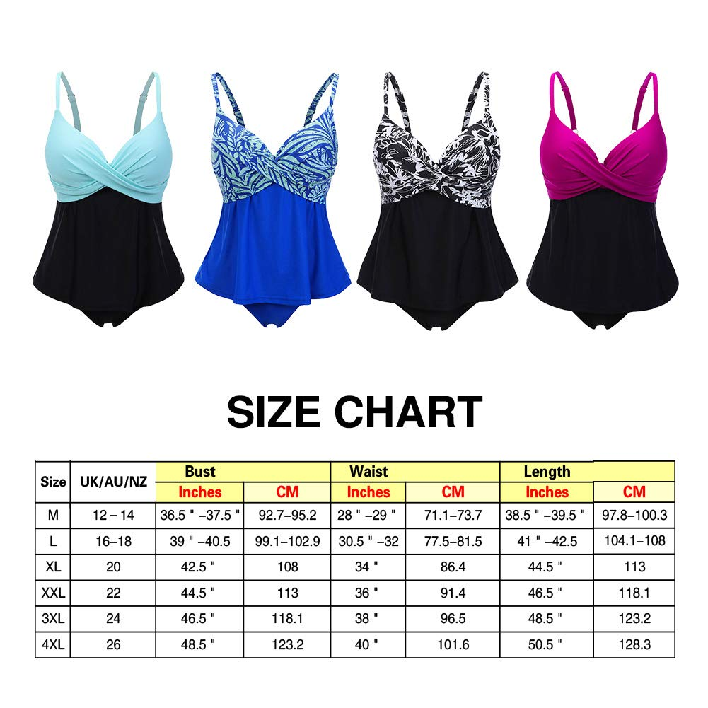Lover-Beauty Womens Two Piece Bikini Printing Two-Color Stitching Swimsuit Sets Plus Size Chest Pad Slim Tankini Costume