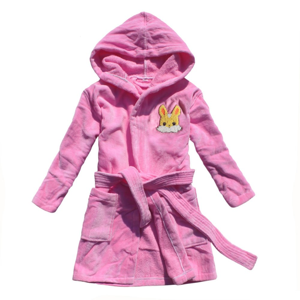 Cartoon rabbit embroidered girl bathrobe 100% cotton girl robe gown feetoo