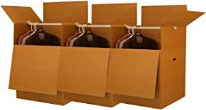 "Wardrobe Moving Boxes - Shorty Space Savers - (3 PK) 20x20x34"" w/Bars"