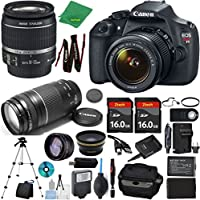 Canon Rebel T5 Camera + 18-55mm IS + 75-300mm III + 2pcs 16GB Memory + Case + Memory Reader + Tripod + Starter Set + Wide Angle + Telephoto + Flash + Battery + Charger - International Version
