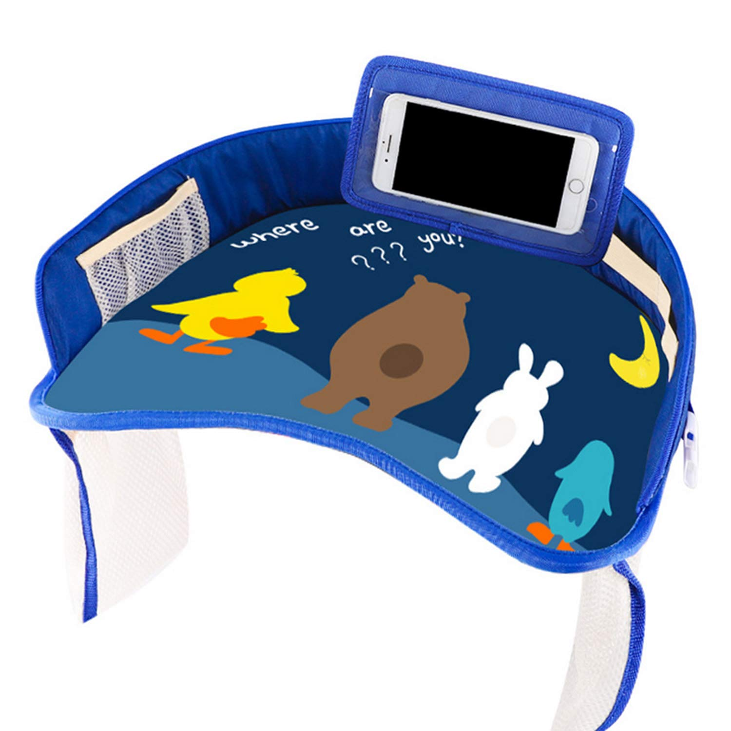 Cute Cartoon Waterproof Kids Children Travel Tray with Multi Storage Pockets for Auto Car Seats Booster Strollers High Chair Blue