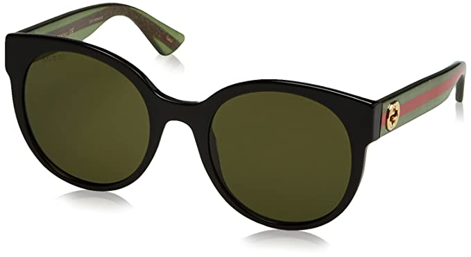 faf75161b4a3a Image Unavailable. Image not available for. Color  Gucci Women GG0035S 54  Black Green Sunglasses