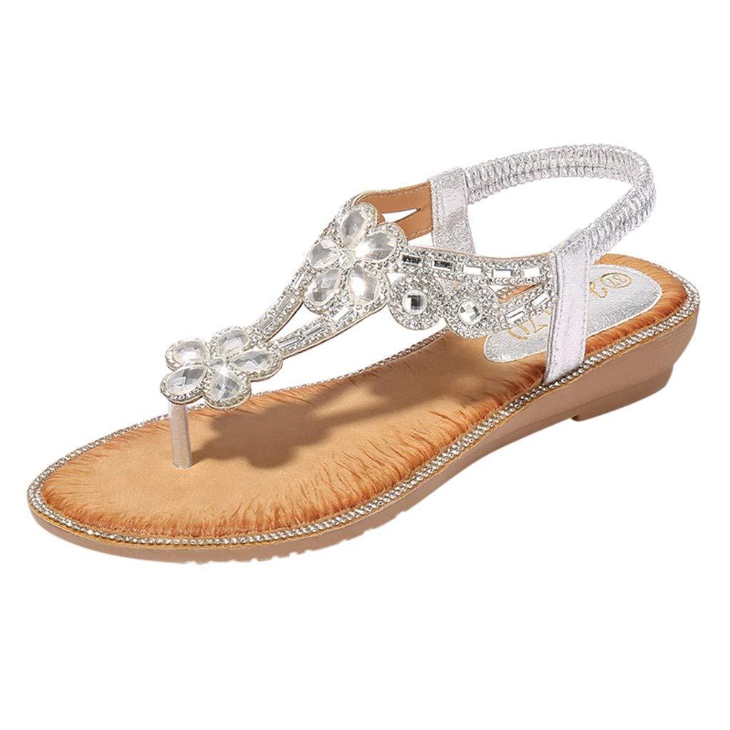 ClearanceWomen Rhinestone Flat Sandals, lkoezi Lady Casual Bohemia Flower Bling Crystal Beach Shoes Summer Clip Toe Sandals