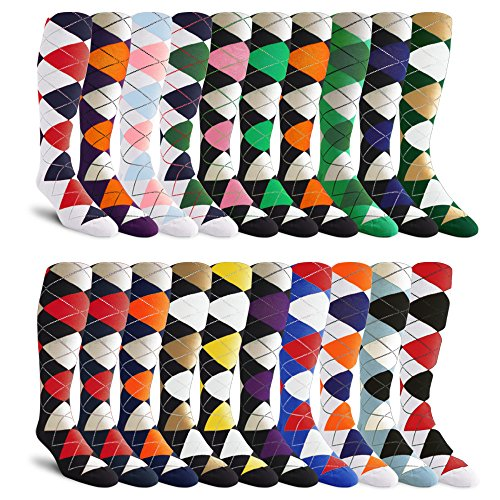 20-Pack, Over-the-Calf, Argyle Dress Socks, Golf Socks, Golf Knickers Socks From GolfKnickers by Golf Knickers