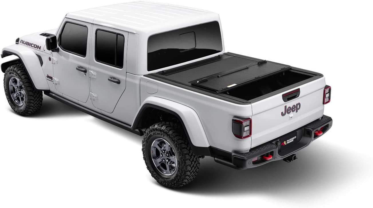 Amazon Com Rugged Ridge Armis Hard Folding With Line X Bed Cover 2020 Jeep Gladiator Jt Automotive