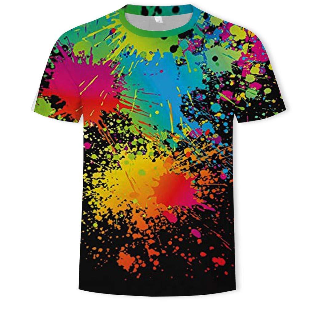 Men Vacation T-Shirts,Jchen Summer Mens Teen Boys Short Sleeve 3D Colorful Print Casual Comfort Holiday Shirts Tops Tee